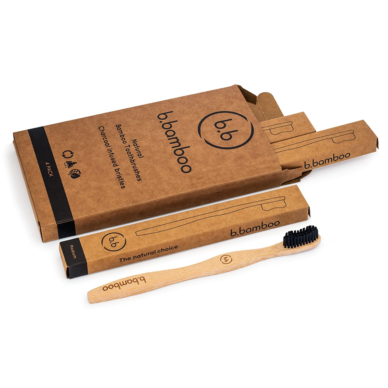 Cepillo de dientes de bambú ecológico biodegradable de madera, 100% libre de BPA y embalaje vegano, duradero, carbón vegetal infusionado, cerdas medianas, ...
