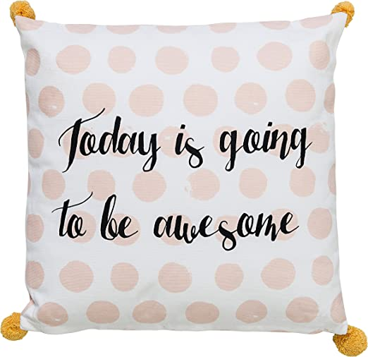 Bloomingville Square Pink Cotton Pillow with Gold Dots