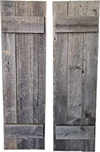 "Rustic Shutters Made from 100% Reclaimed Weathered Wood - Perfect for Farmhouse Barnwood Style Decor - Set of 2 - Made in The USA (11""x36"")"