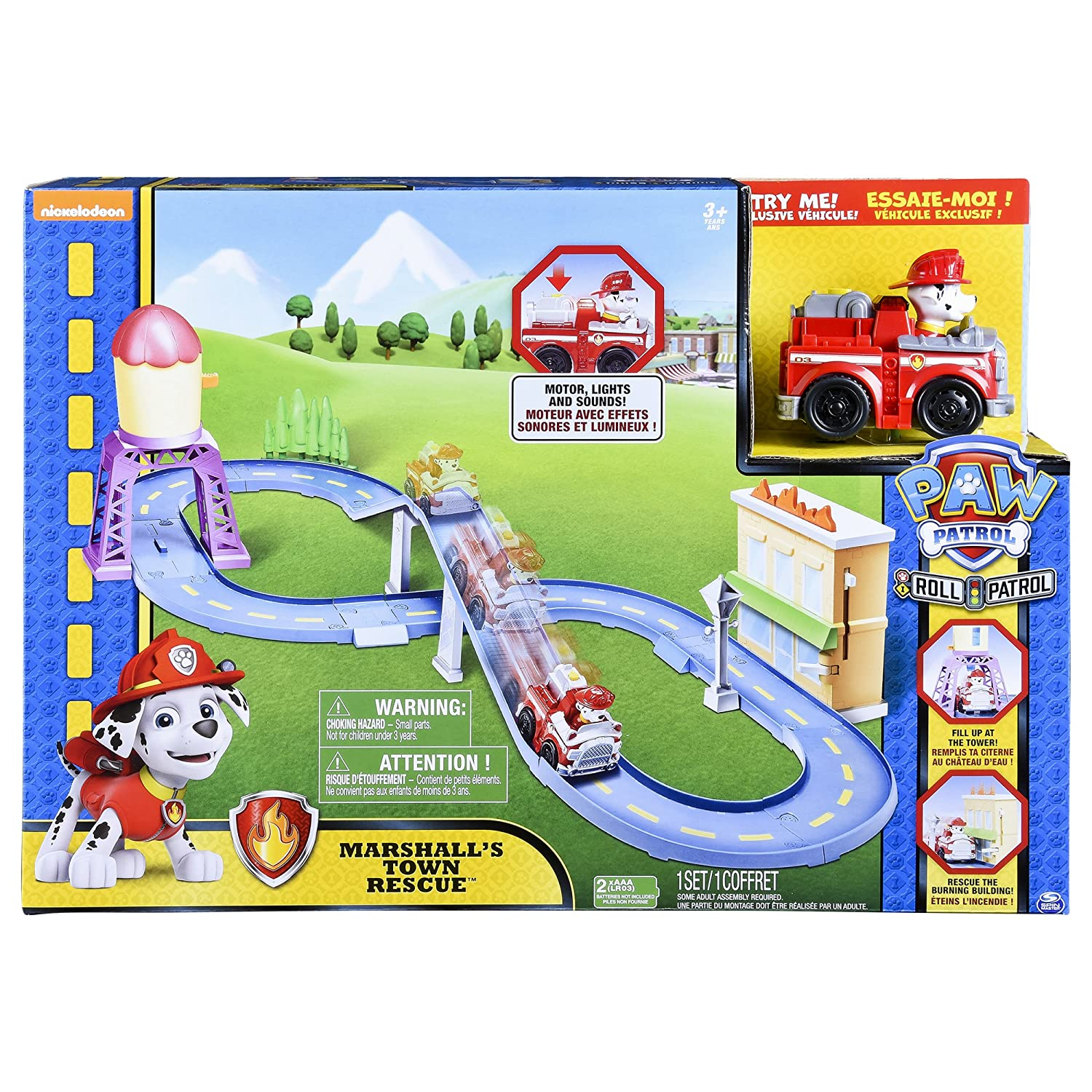 Amazon.com  Paw Patrol Roll Patrol – Marshall s Town Rescue Track Set with  Exclusive Motorized Vehicle with Lights and Sounds  Toys   Games 7b47993f3b