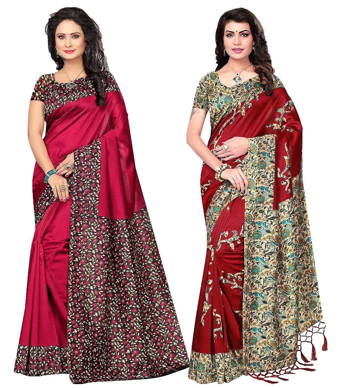 029c8f4cbf8 ishin Women s Poly Silk Printed Saree (Multi  Free Size) - Combo of 2   Amazon.in  Clothing   Accessories