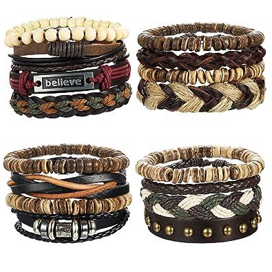 LOYALLOOK 16pcs Mens Leather Bracelet Wrap Cuff Bracelets with Hemp Cords  Wood Beads Ethnic Tribal Believe e834982e8d37