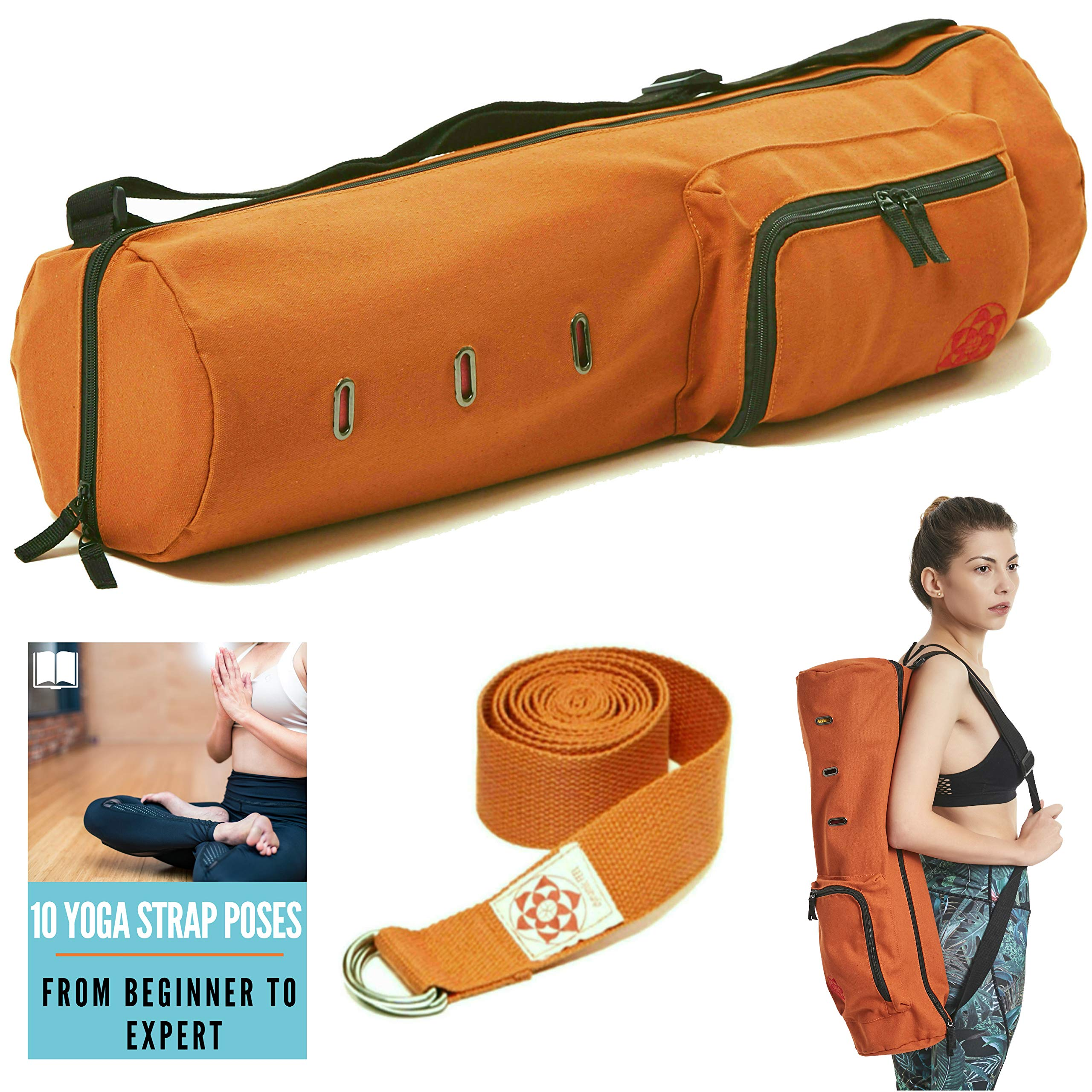 Yoga Mat Carrier Bag for Men and Women, Yoga Mat Sling, Full Zip for Easy Access and Storage Pockets Yoga Mat Bag, Washable and Sturdy Cotton Canvas