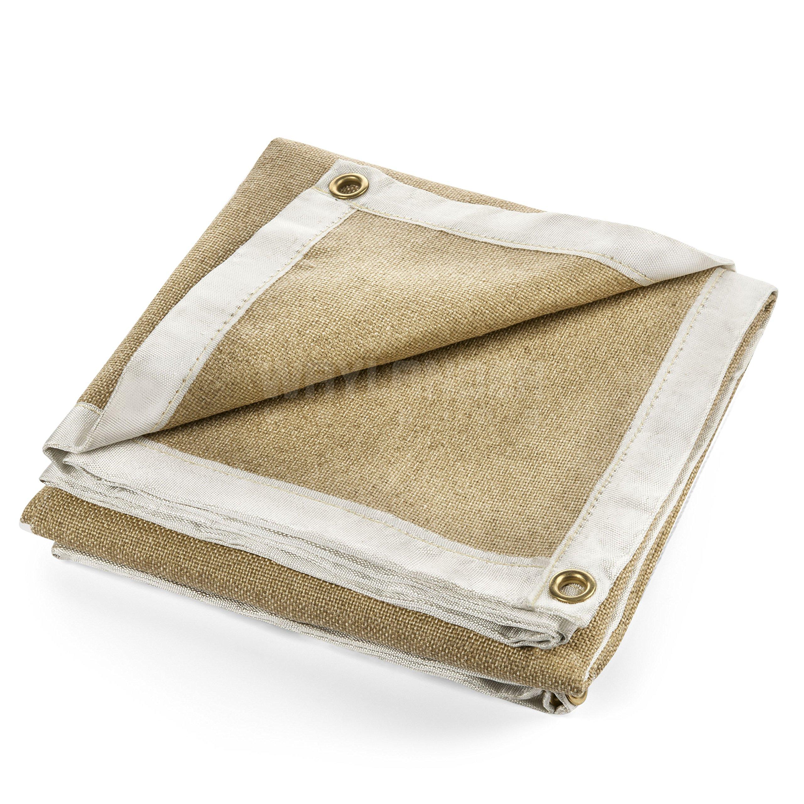Waylander Premium Welding Blanket 4' x 6' 1400°F Heavy Duty Kevlar Stitched Vermiculite Impregnated Fiberglass with Brass Grommets