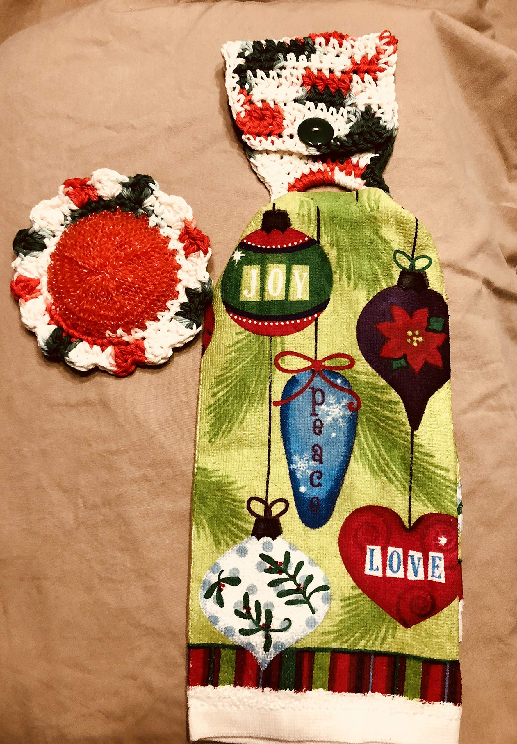Free ship to USA - 3 piece set - Christmas Ornaments Balls - 1 CROCHET Plastic Scrubber, Towel holder & KITCHEN hand TOWEL light weight terry cloth - 100% cotton yarn red, white, green