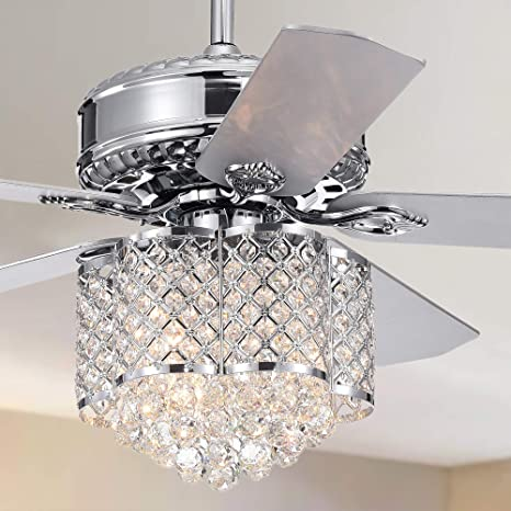 Warehouse Of Tiffany Deidor 5 Blade 52 Inch Chrome Ceiling Fan With 3 Light Crystal Chandelier Remote Controlled Furniture Decor
