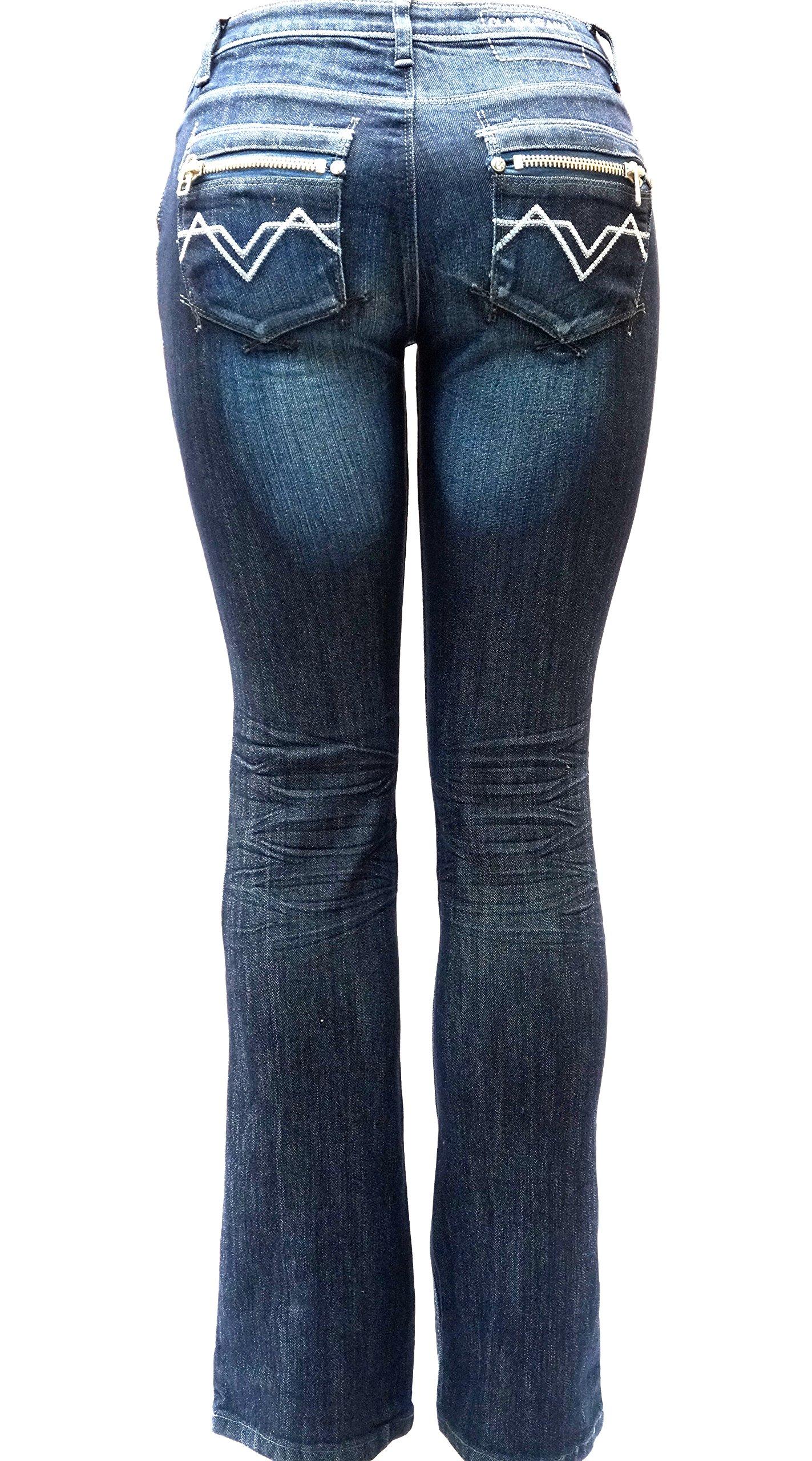 Jully-M Premium Sexy Women's Curvy Basic Bootcut Blue Denim Jeans Stretch Pants (15, Clash Jeans LP-5172 Blue Faded)