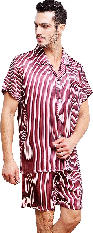 Lonxu Mens Satin Short Pajamas Set S M L XL 2XL 3XL 4XL