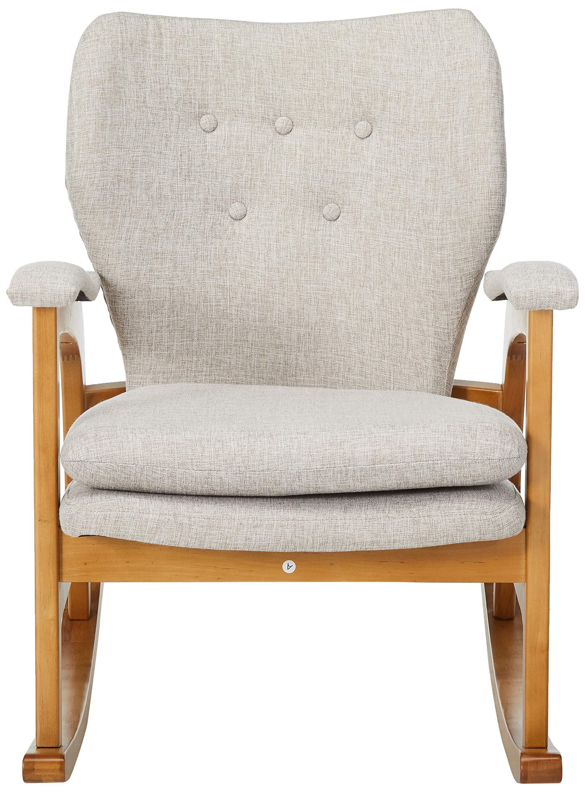 Christopher Knight Home Brannt Mid-Century Fabric Rocker, Wheat / Light Walnut