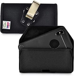 product image for Turtleback Belt Clip Case Designed for iPhone 11 Pro Max (2019) and iPhone Xs MAX (2018) Holster Black Nylon Pouch with Heavy Duty Rotating Belt Clip, Horizontal Made in USA