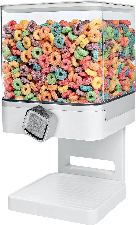 Zevro Compact Dry Food Dispenser, Single Control, White/Chrome