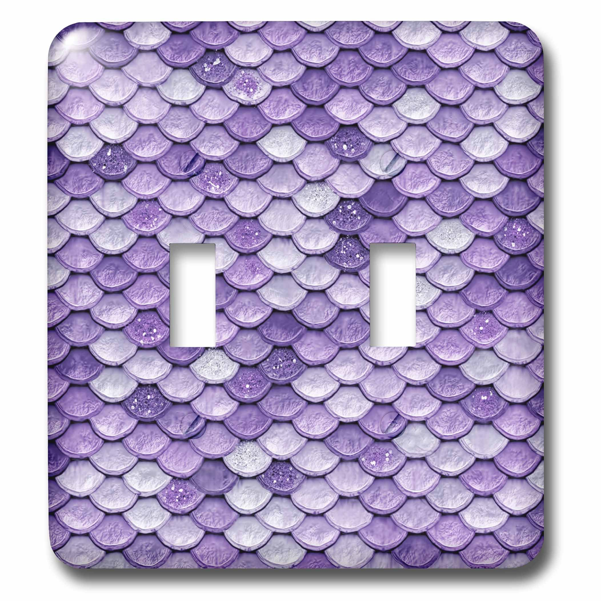 3dRose (lsp_266922_2) Double Toggle Switch (2) Sparkling Luxury Elegant Purple Mermaid Scales Glitter Effect Art Print by 3dRose (Image #1)