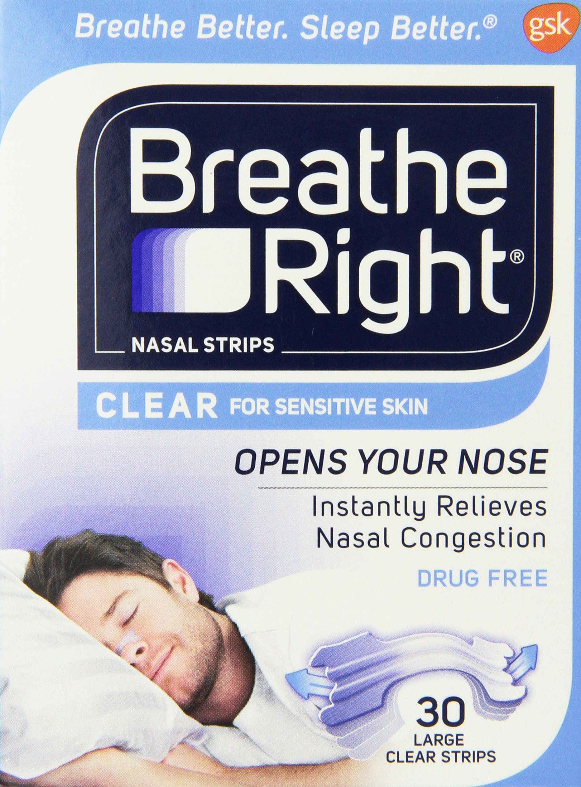 Breathe Right Nasal Strips Clear Large - 30 Strips