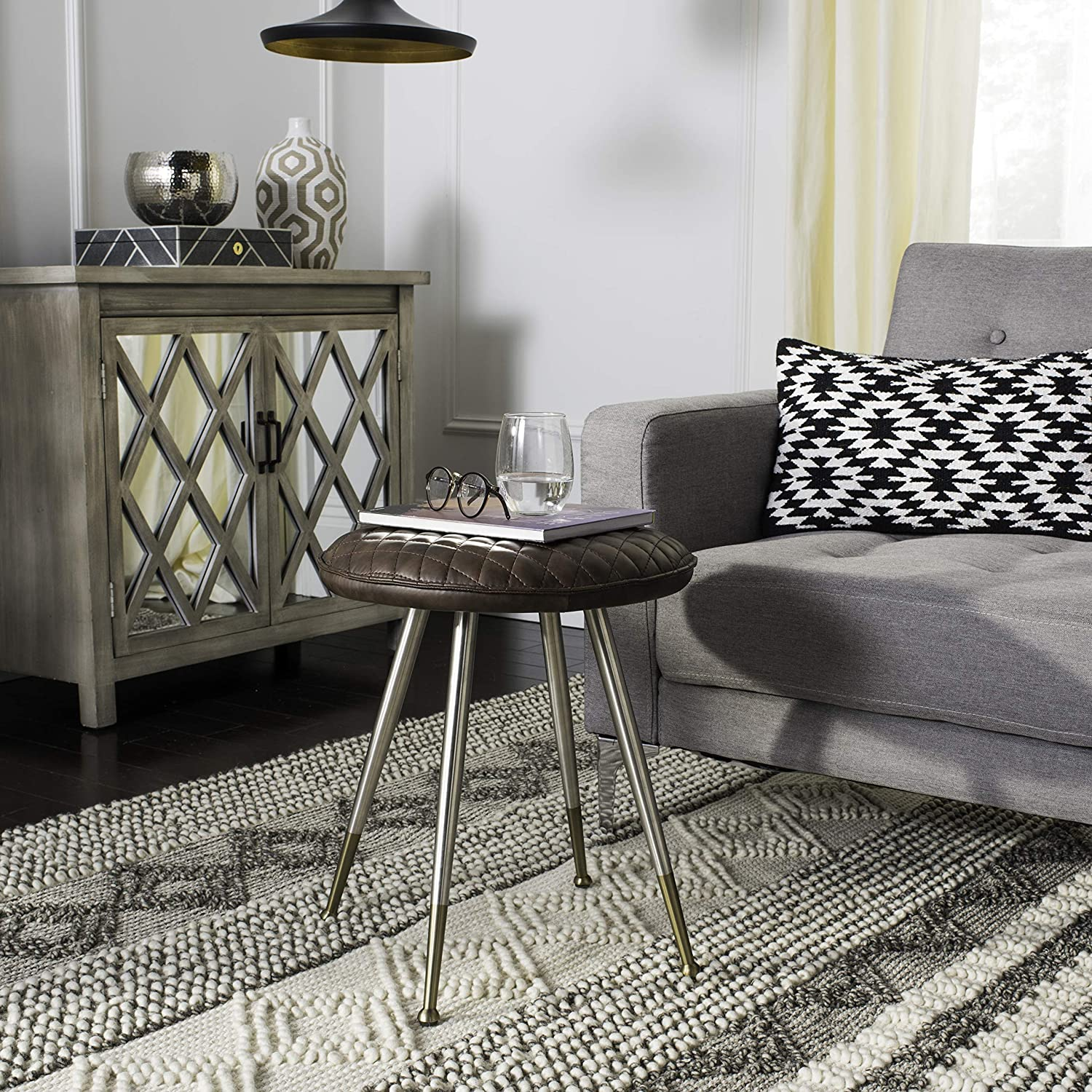 Safavieh American Homes Collection Brinley Mid-Century Modern Dark Brown and Silver 30-inch Stool