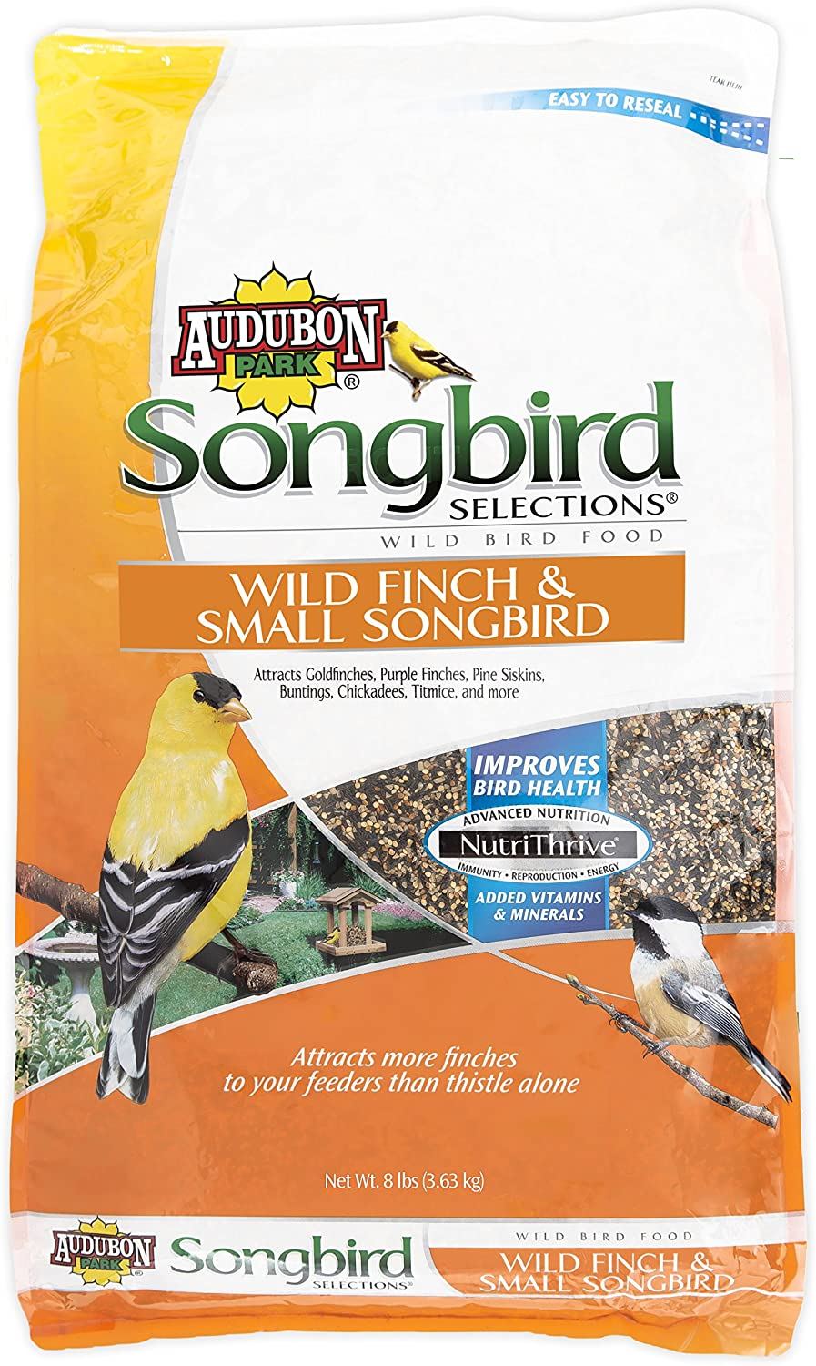 Audubon Park Songbird Selections Pound Selections 11977 Wild Finch and Small Songbird Seed Blend, 8