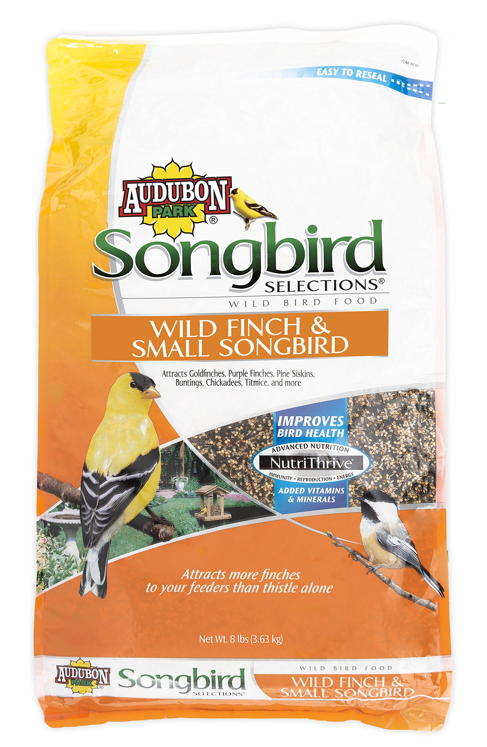 Songbird Selections 11977 Wild Finch and Small Songbird Seed Blend, 8-Pound by Audubon Park Songbird Selections