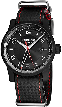 fda534139 Montblanc Timewalker UTC Mens Automatic Dual Time Zone Watch - 42mm Black  Face with Date and