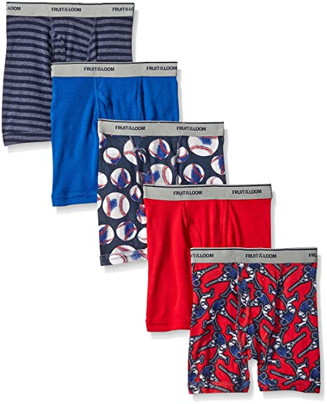 Fruit of the Loom Big Boys' Stripe Solid Boxer Brief , Print/Solid/Stripe, Small (Pack of 5)