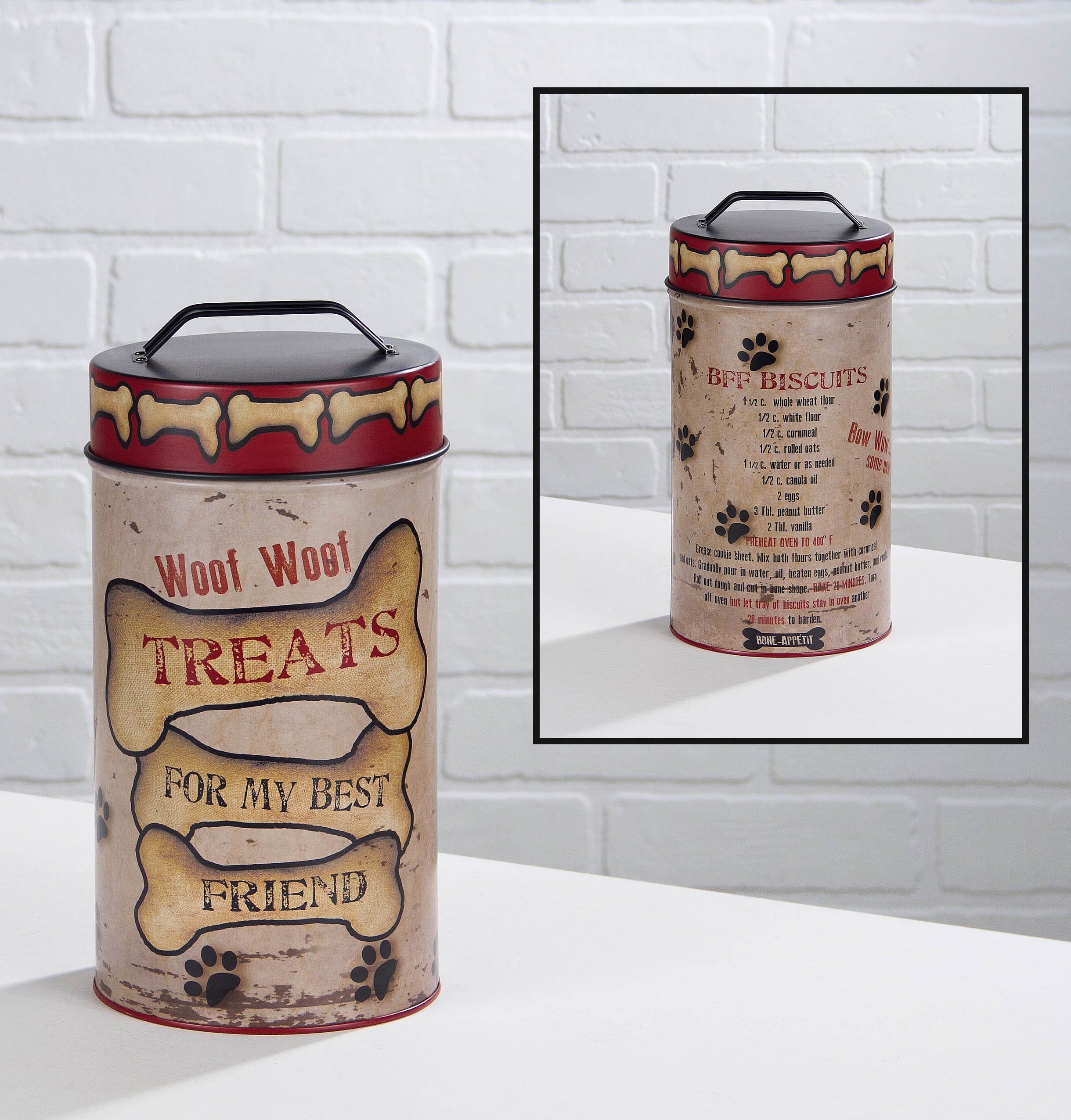 Decorative Dog Treat Tin Container with Lid with Biscuit Recipe