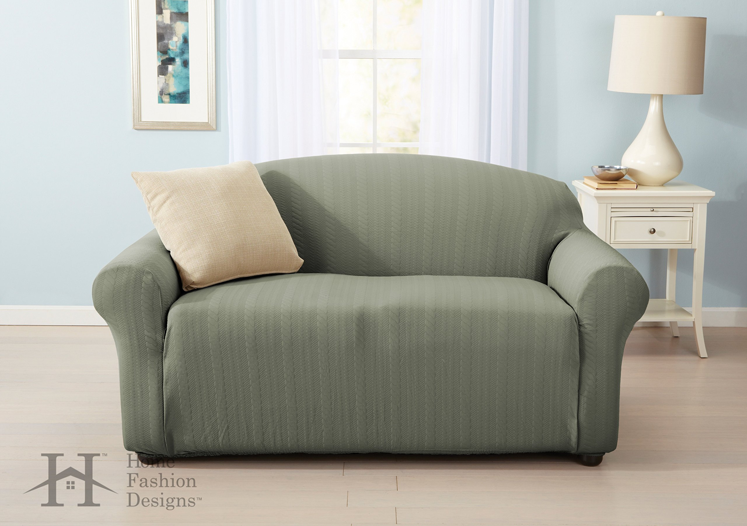 Home Fashion Designs Form Fit, Slip Resistant, Stylish Furniture Shield/Protector with Cable Knit Fabric. Darla Collection Platinum Strapless Slipcover. By Brand. (Loveseat, Tea Green) by Home Fashion Designs