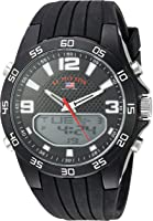 U.S. Polo Assn. Men's Quartz Metal and Rubber Casual Watch, Color:Black (Model: US9602)