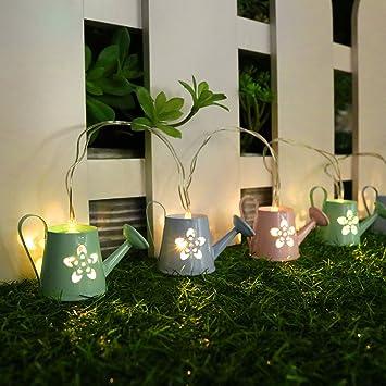 Valery Madelyn Frühling Beleuchtung Deko LED Lichterkette 1.2m Grüße  Berühren Eisen 6 Stück Gießkanne