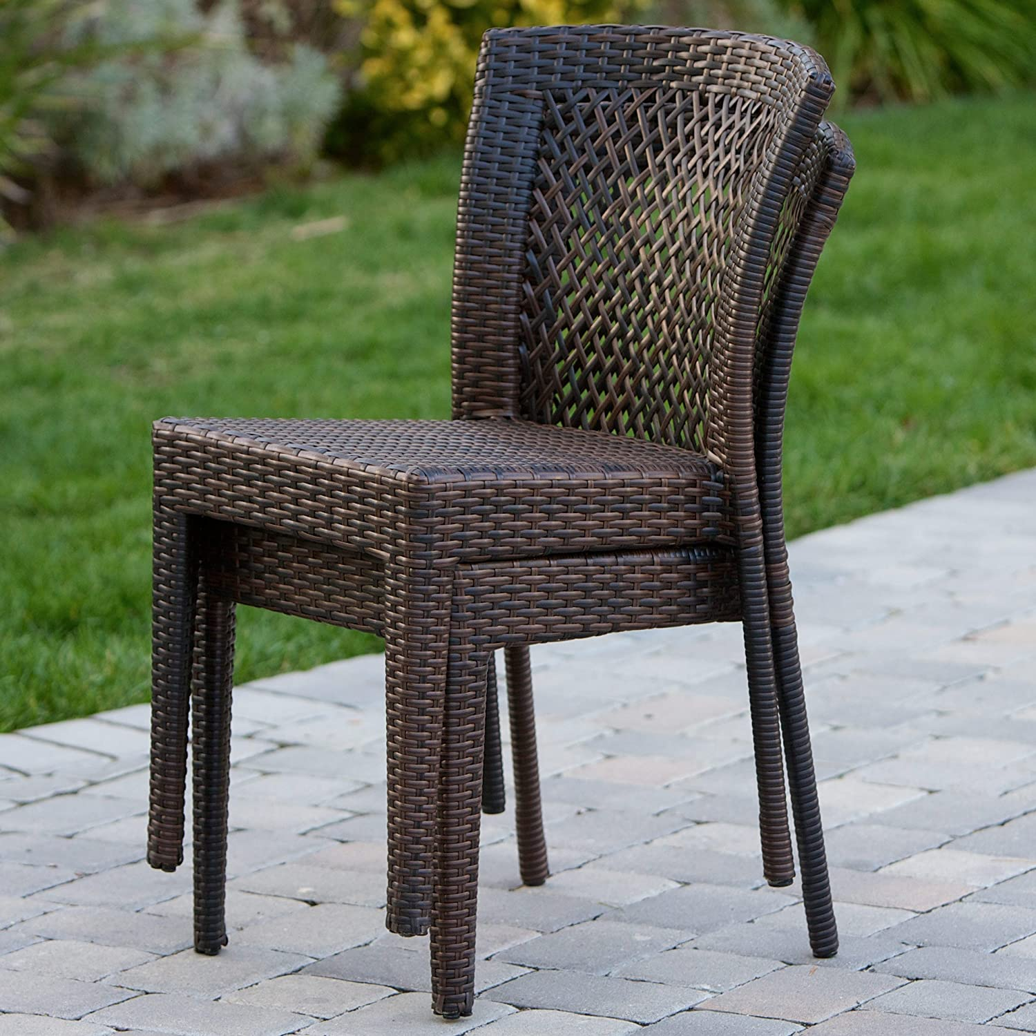 amazoncom dana point outdoor patio furniture brown wicker chairs set of 2 patio dining chairs patio lawn u0026 garden - Cheap Patio Sets