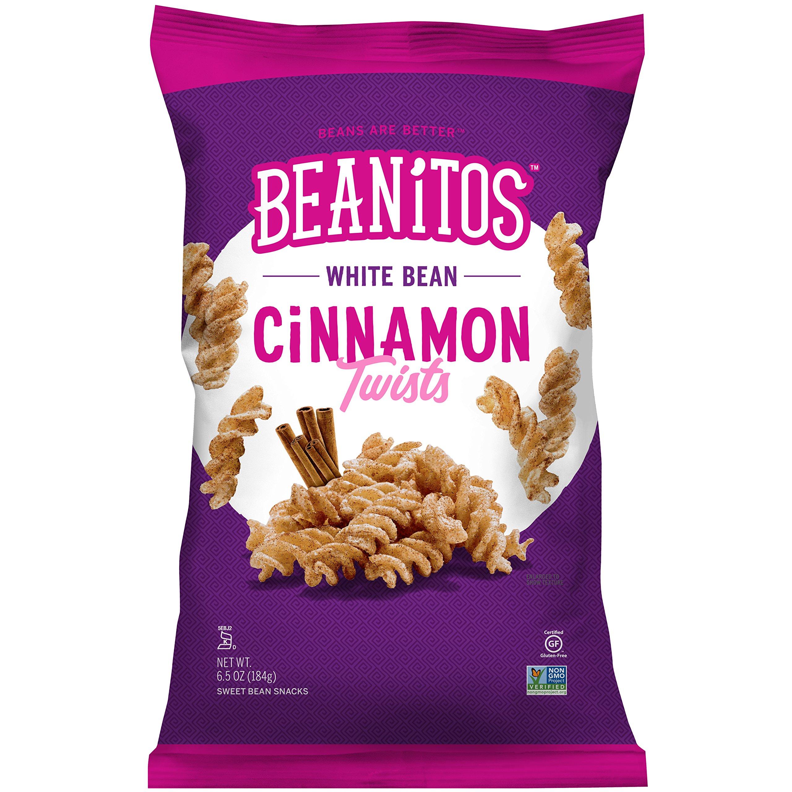 Beanitos White Bean Cinnamon Twists Gluten Free Non-GMO Vegan Corn Free Trans Fat Free Plant Based Sweet Snack 6.5 Ounce