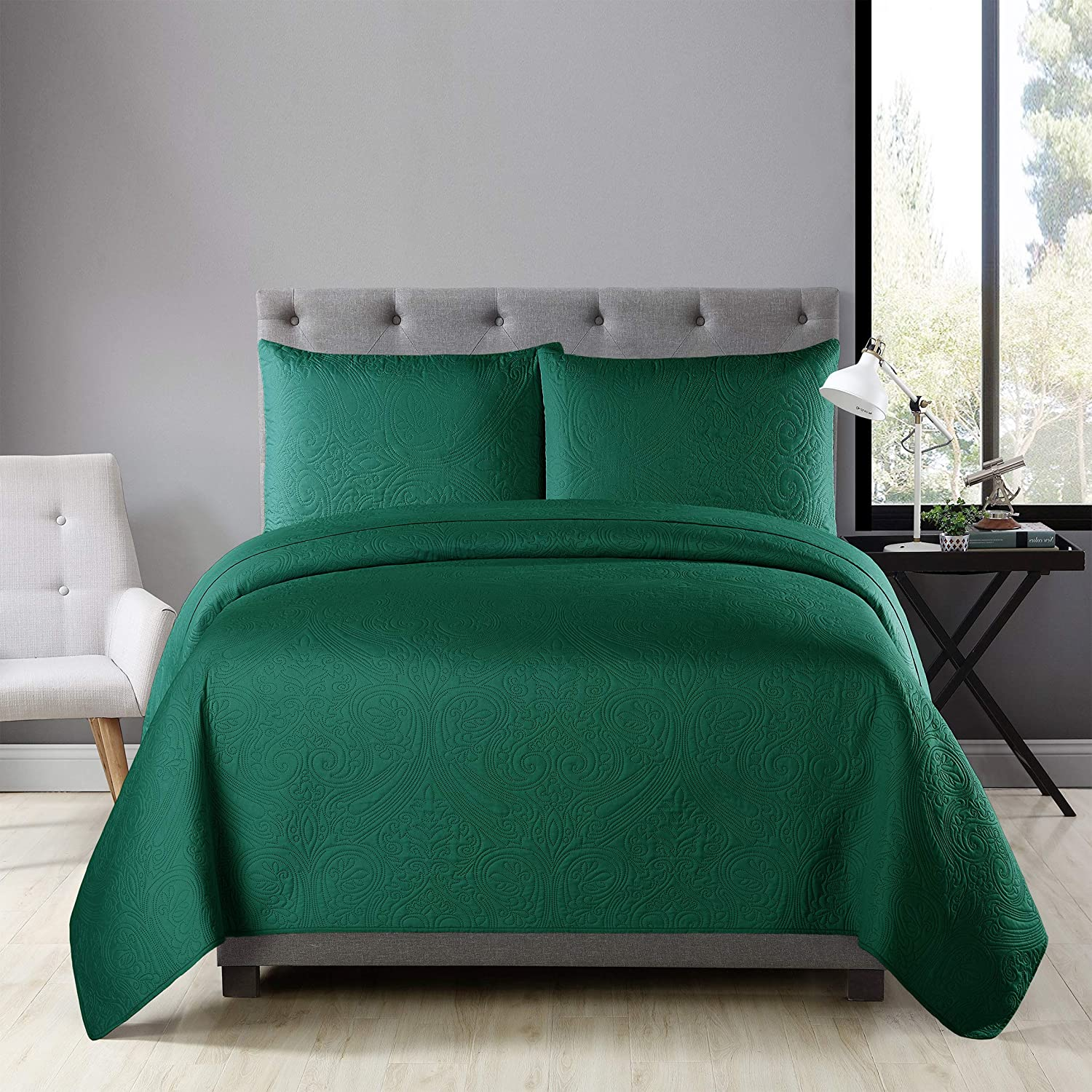 "Golden Linens Ultrasonic #D1 Over Size 108"" X 95"" Full/Queen 3 Pieces Solid Color Embossed, Bedspread Coverlet Set # Ultrasonic D1 Hunter Green, Full/Queen"