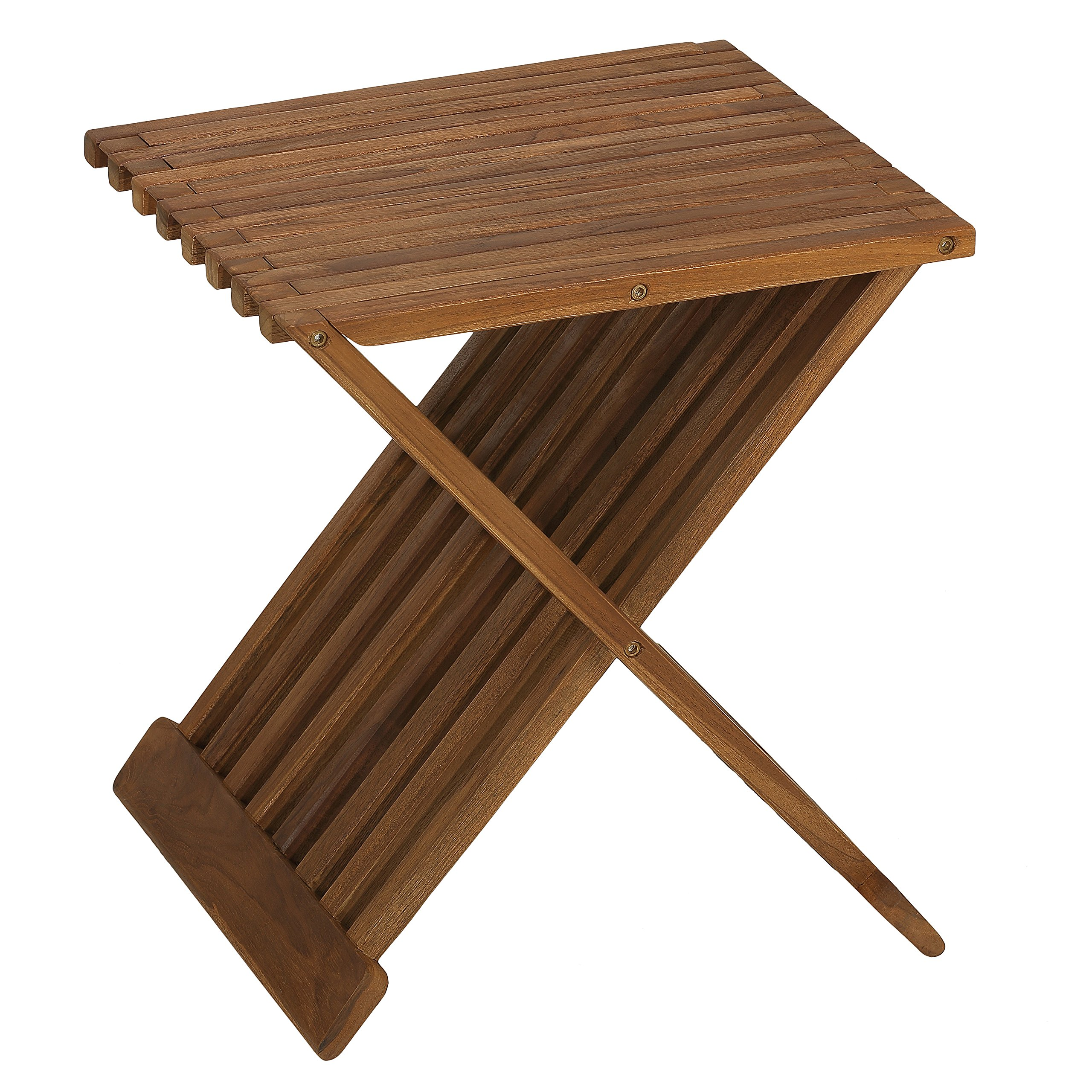Bare Decor Rocco Folding Stool in Solid Teak Wood, Brown, 17 Inch