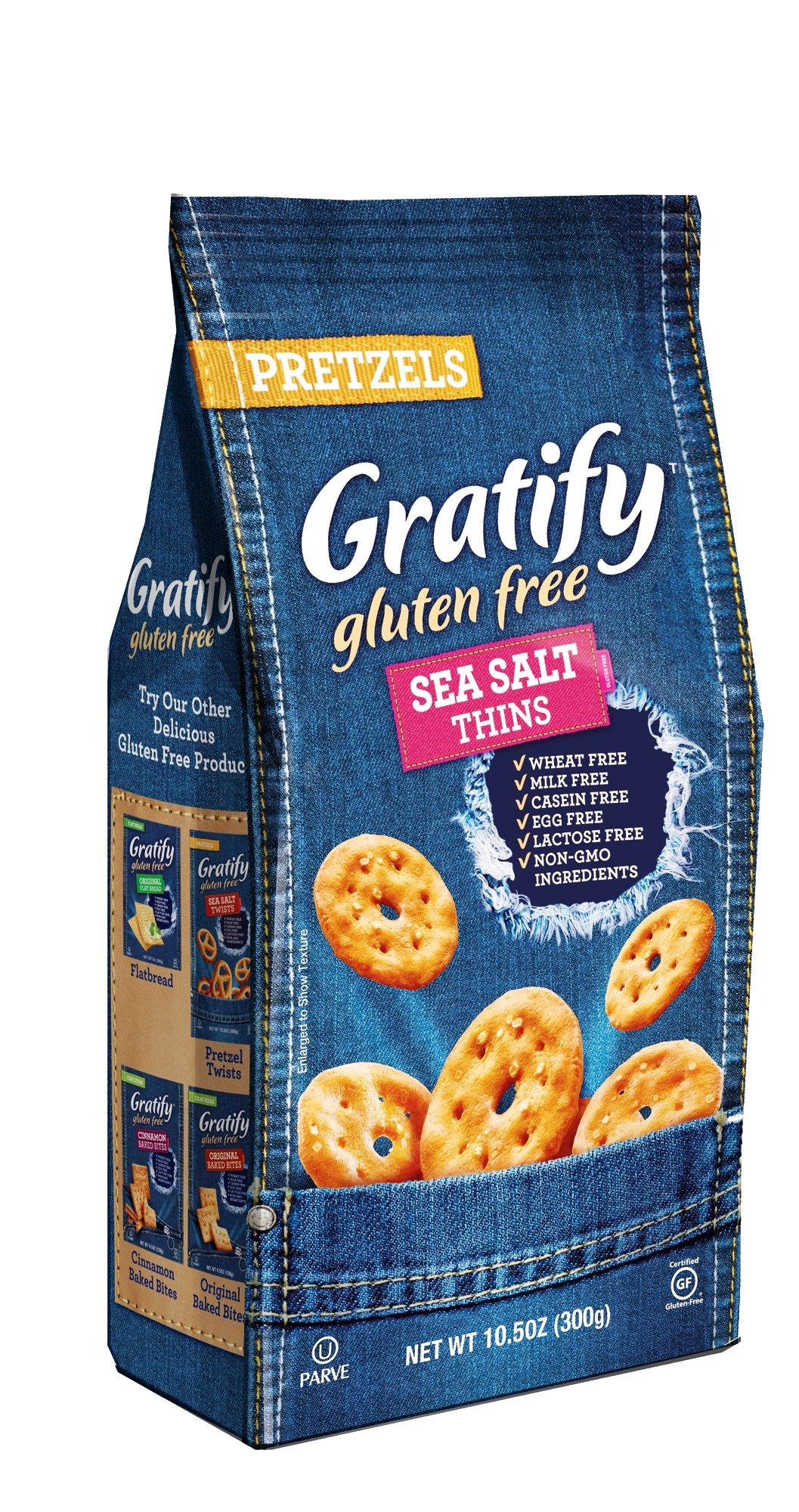 Gratify Gluten Free Pretzels, Sea Salt Thins, 4.5 Ounce (Pack of 12)