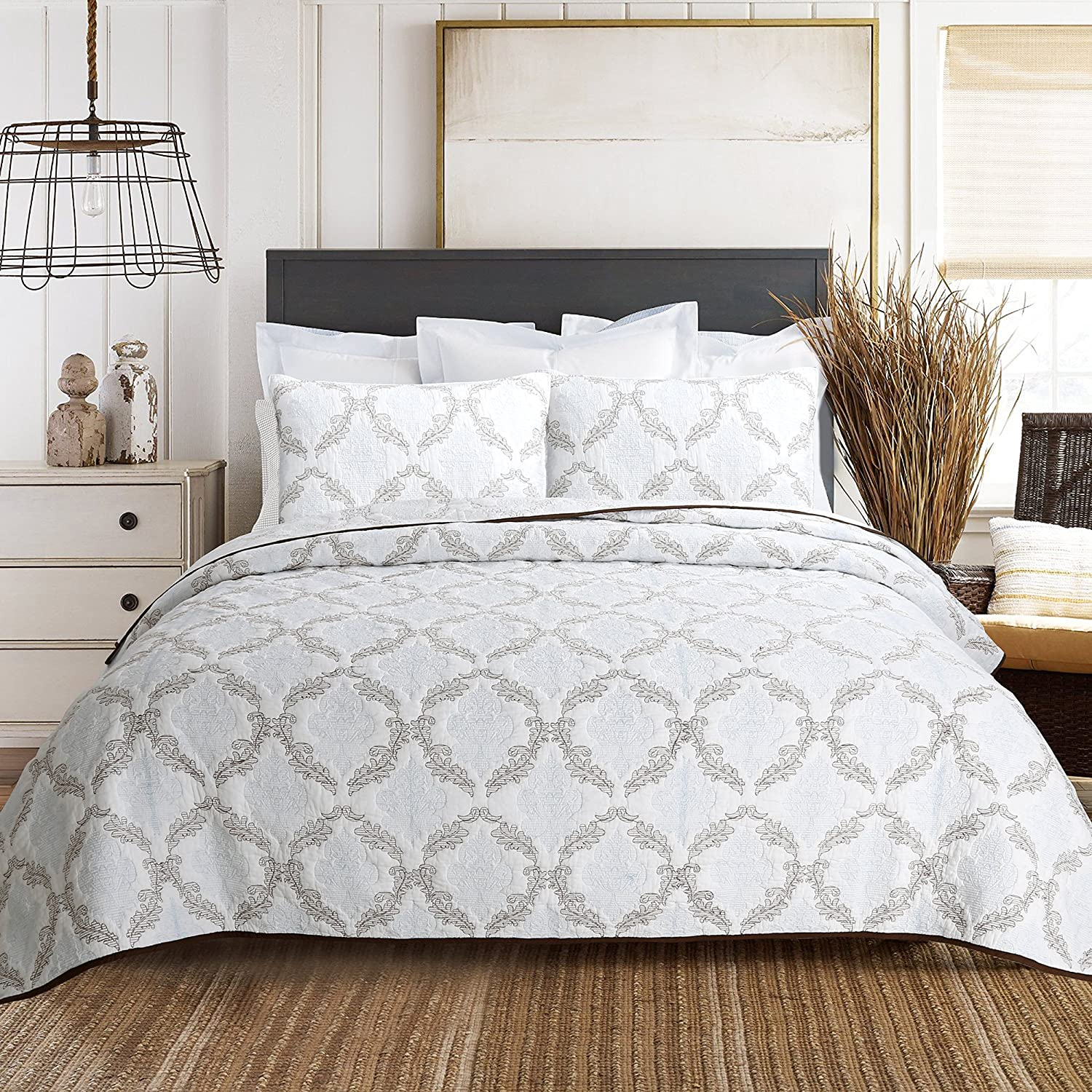 Cozy Line Home Fashions Baroque Embroidered Medallion White Light Blue Brown Bedding Quilt Set, 100% Cotton Coverlet, Bedspread for Bedroom/Guestroom (Elizabeth - Embossing A, Queen - 3 Piece)