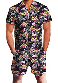 d075f0022dd5 chicolife Mens Zip up 3D Graphic Printed Designer Overall Jumpsuit Short  Sleeve Jumpsuits Cool…