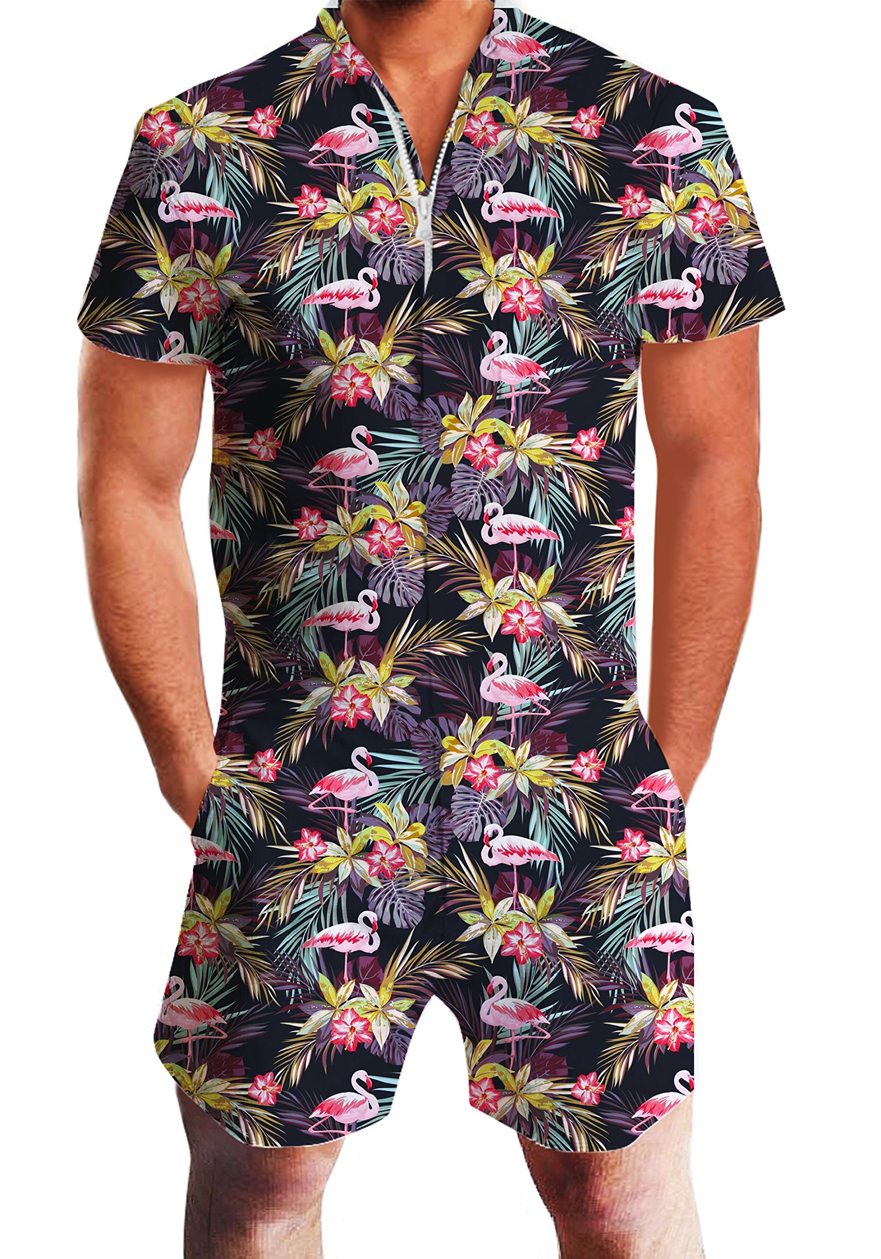 Mens Male Galaxy Nebula Space 3D Colouful Whale Shark Captain Cat Novelty Shorts Cargo Pants Jumpsuits Rompers Overalls Flamingos L