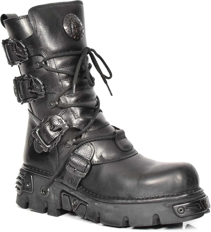 New Rock Botas de Cuero Cordones Zapatos Gótico Estilo Retro Diseño Hebilla de Cráneo Negro Liso