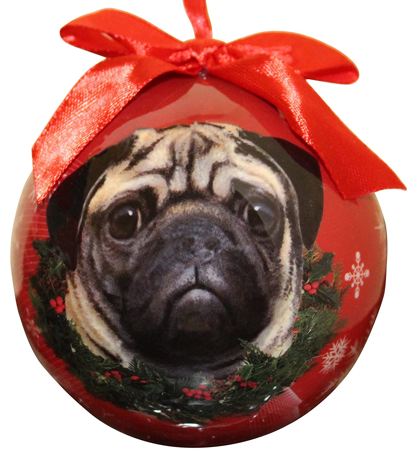 Pug Christmas Ornament Shatter Proof Ball Easy To Personalize A Perfect Gift For Pug Lovers E&S Pets