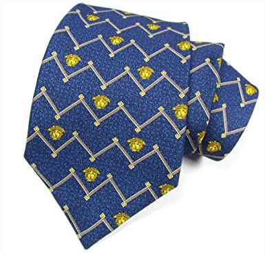 """bf319e59ccd4 VERSACE """"Gianni Vintage Medusa"""" mens with logo business tie silk  (navy blue"""