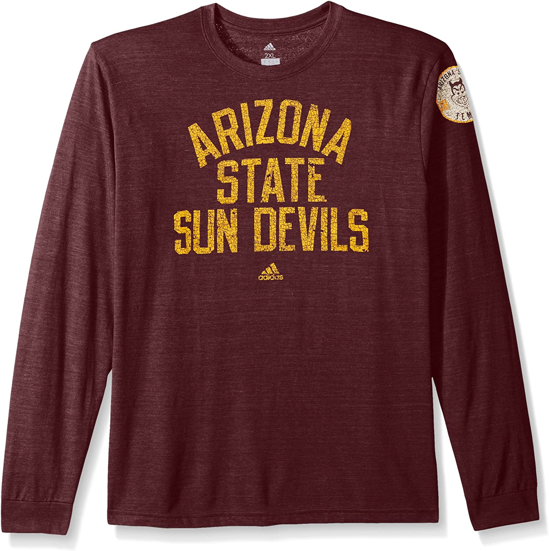 adidas NCAA Arizona State Sun Devils Adult Men Arched Heritage Tri-Blend L//S Tee Classic Maroon Heathered XX-Large