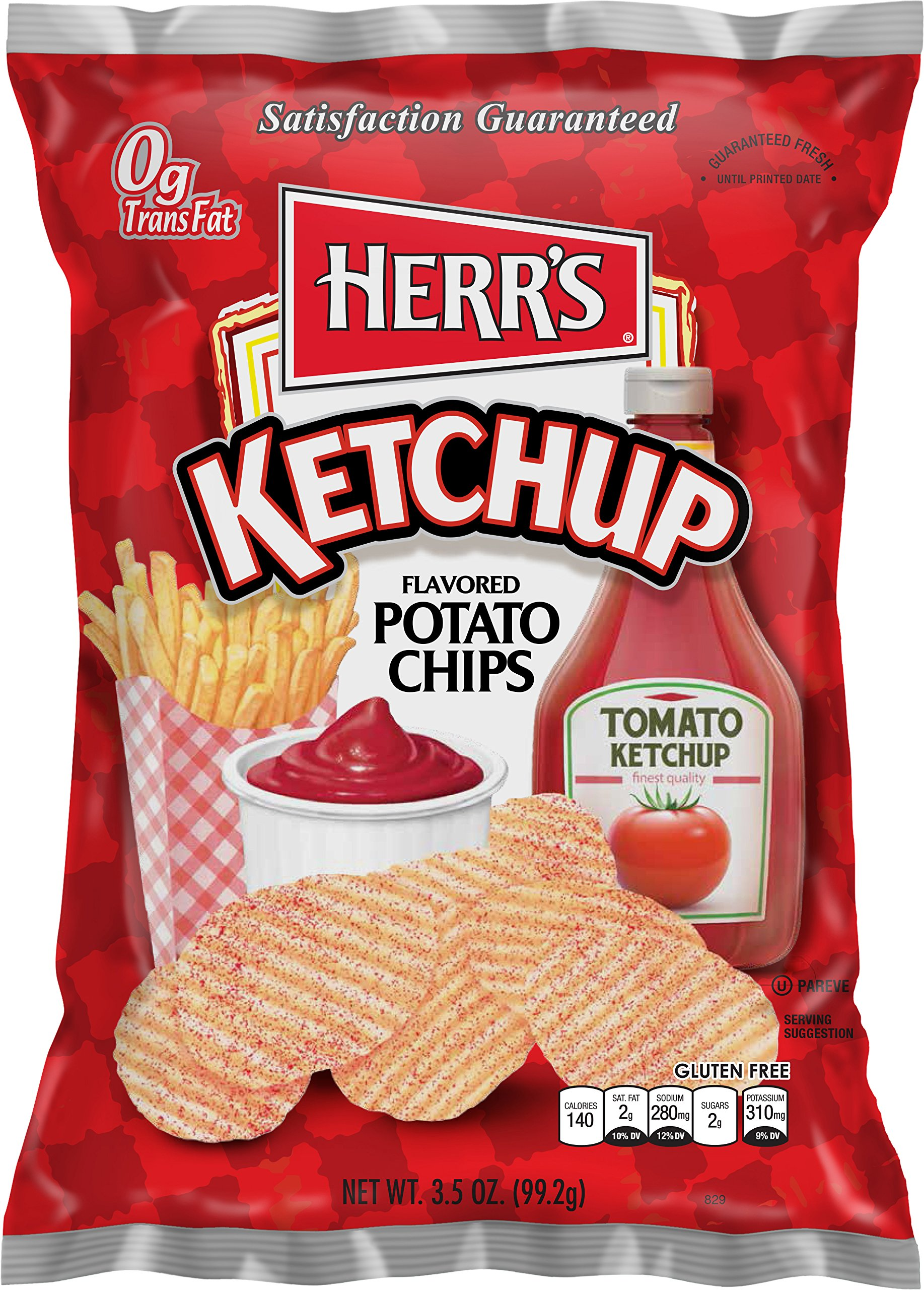 Herr's Ketchup Flavored Potato Chips, 3.5 Ounce (Pack of 16) by Herr's