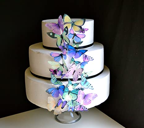 Amazon Com Edible Butterflies C Set Of 30 Purple And Green Cake