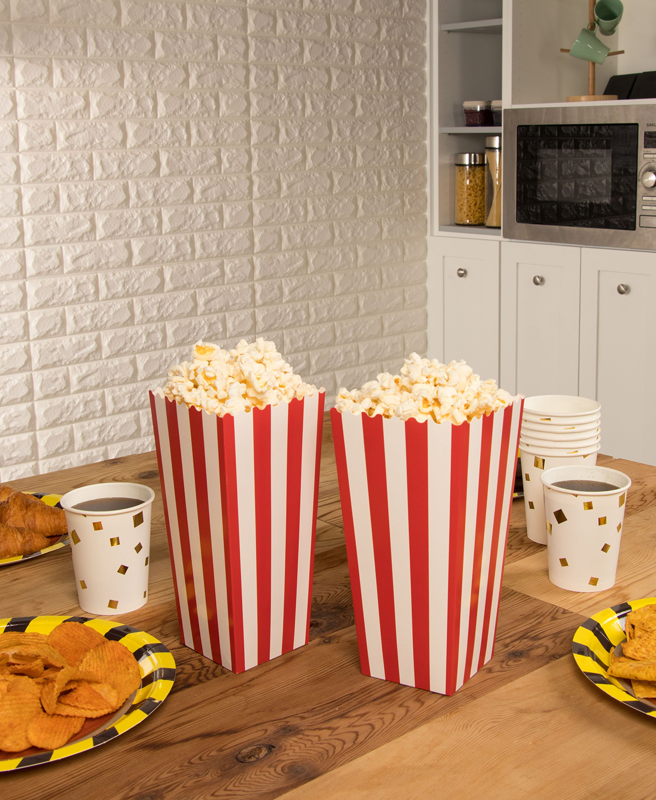 Set of 100 Popcorn Favor Boxes - Paper Popcorn Containers, Popcorn Party Supplies for Movie Nights, Movie-Themed Parties, Carnival Parties, Pirate Party, Red and White - 3.7 x 7.8 x 3.7 Inches by Blue Panda (Image #9)