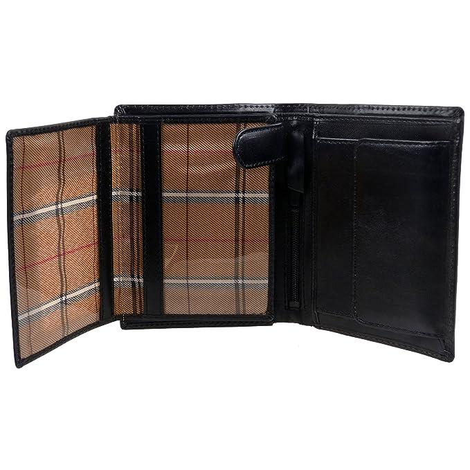 Para hombre de cuero con cartera de VISCONTI Monza colección en italiano negro - en caja de regalo: Amazon.es: Ropa y accesorios