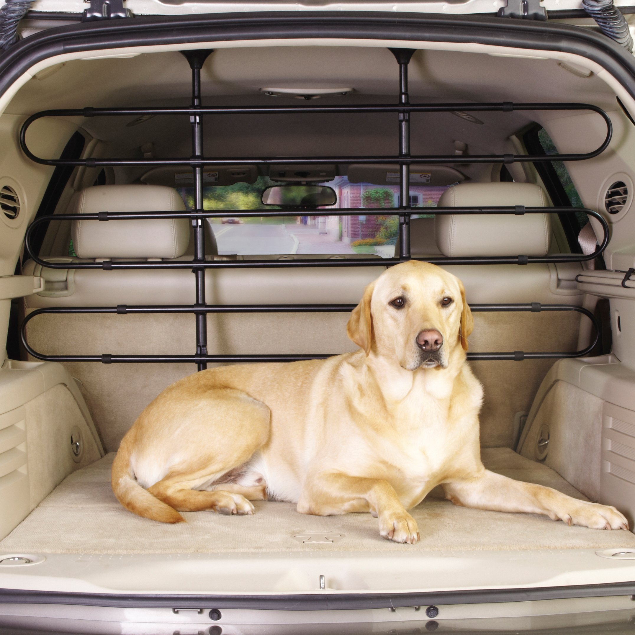 Guardian Gear Vehicle Pet Barrier, Strong, Sturdy, Pressure-Mounted, and Heavy-Duty Adjustable Steel Rubber - Black by Guardian Gear