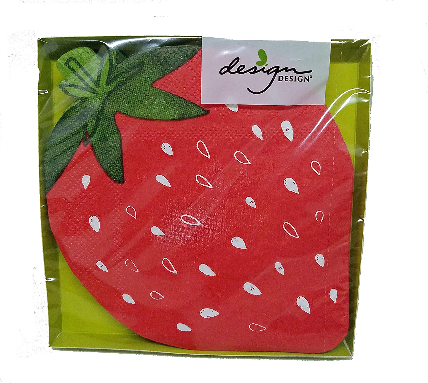 Red Strawberry Shaped Beverage Cocktail Napkins for Summer Party or Picnic, 4.75x4.75 Inch