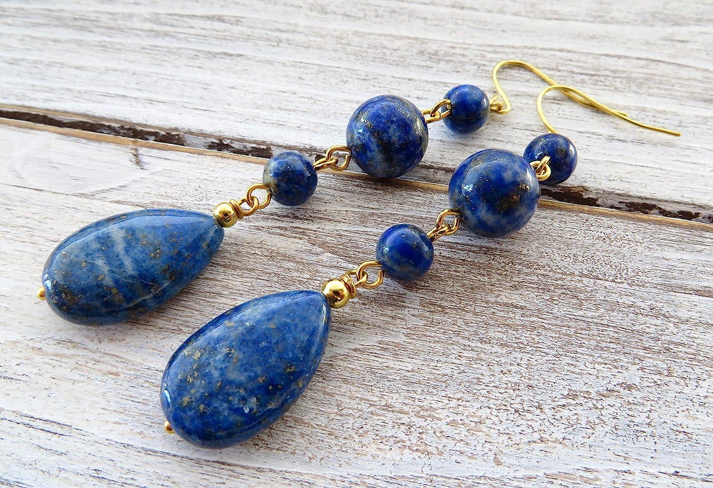 long drop earrings Blue lapis lazuli earrings women jewellery stone earrings natural gemstone jewellery