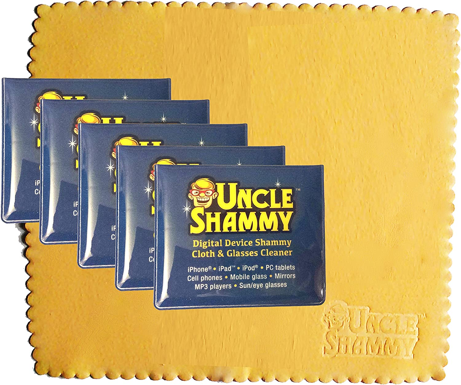 New Digital Device Uncle Shammy Small Cleaning Cloth 5 Pack Clean Smartphone Cell Phone Tablet Eye Glasses 5 by 5 1//2 Each
