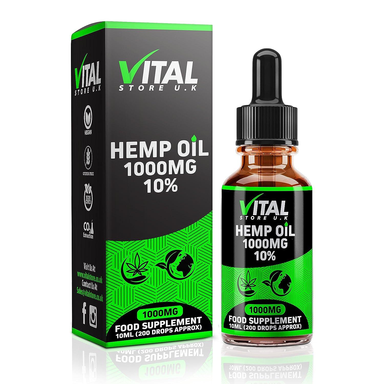 VITAL Hemp Oil Drops 1000mg 10% High Strength | 10ml | UK Manufacturer | Full Spectrum | Pure and Natural | C02 Extracted | Vegan & Vegetarian Friendly VITAL STORE UK