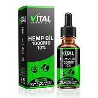 VITAL Hemp Oil Drops 1000mg 10% High Strength   10ml   UK Manufacturer   Full Spectrum   Pure and Natural   C02 Extracted   Vegan & Vegetarian Friendly