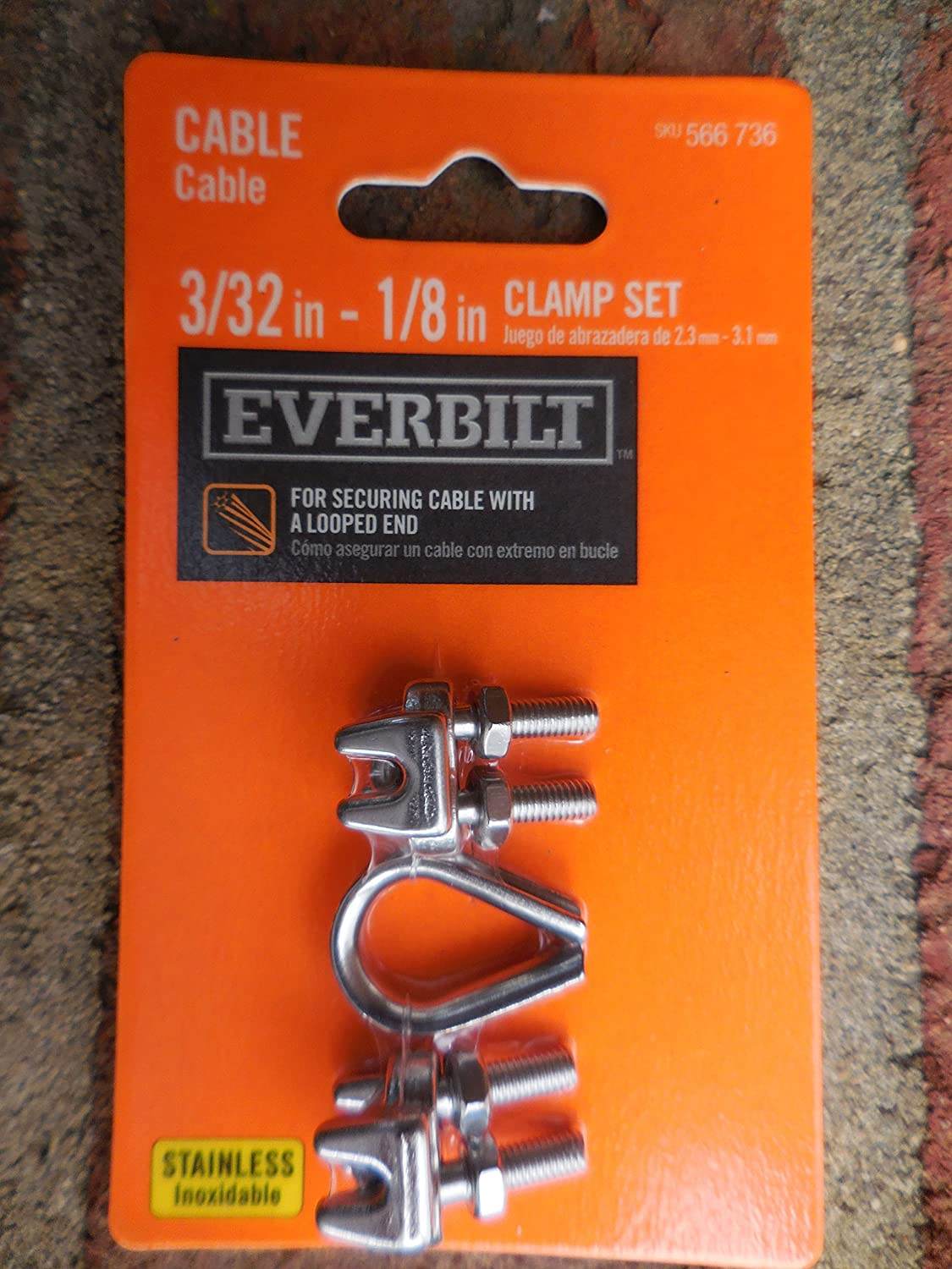 1//8 in Cable clamp set w//thimble 3//32 in stainless