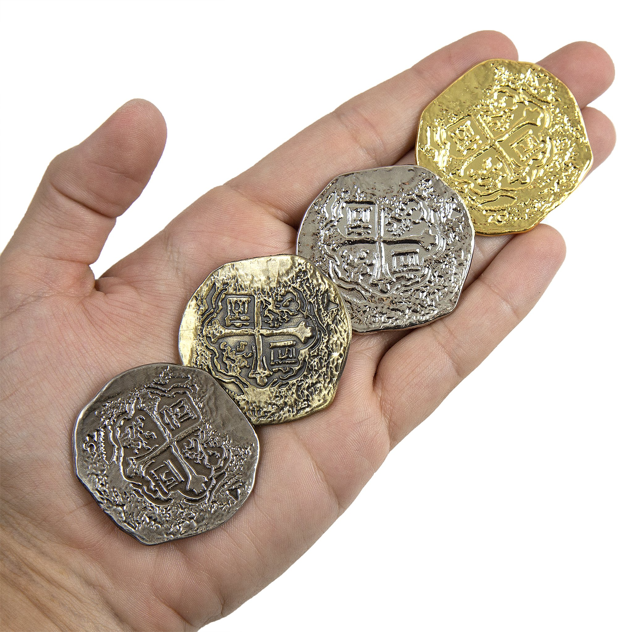 Extra Large Metal Pirate Treasure Coins - 100 Gold and Silver Doubloon Replicas - Toy Pirate Coins by Beverly Oaks (Image #2)
